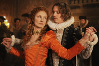 Joely Richardson as Princess Elizabeth Tudor and Jamie Campbell Bower as Oxford in ``Anonymous.''