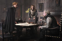 Sam Reid as Earl of Essex, Xavier Samuel as Earl of Southampton and Rhys Ifans as Earl of Oxford in ``Anonymous.''