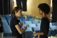 Sherry Hormann and Liya Kebede on the set of ``Desert Flower.''