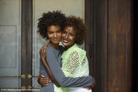 Liya Kebede and Waris Dirie on the set of ``Desert Flower.''