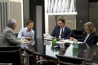Bob Gunton as Cecil Dobbs, Ryan Phillippe as Louis Roulet, Matthew McConaughey as Mickey Haller and William H. Macy as Frank Levin in ``The Lincoln Lawyer.''