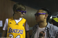 Justin Bieber with director Jon M. Chu in