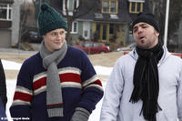 Noah Reid as Farley and Hawksley Workman as Gump in ``Score: A Hockey Musical''