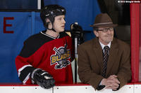 Noah Reid as Farley and Stephen McHattie as Walt Acorn in ``Score: A Hockey Musical''