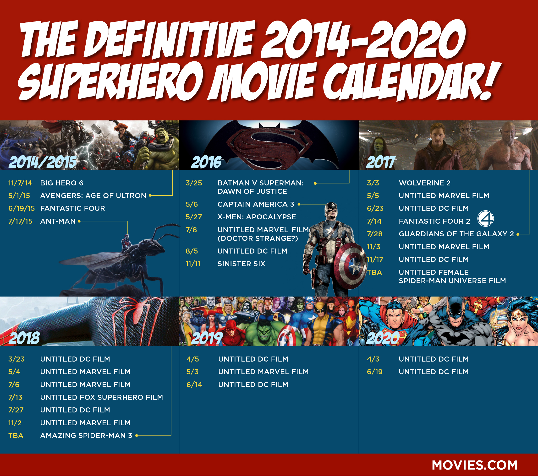 Calendar 2014 And 2020 Definitive 2014 2020 Superhero Movie Calendar : movies