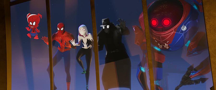 Spider-Ham, Peter Parker, Spider-Gwen, Spider-Noir and Peni Parker inside Sp//dr.