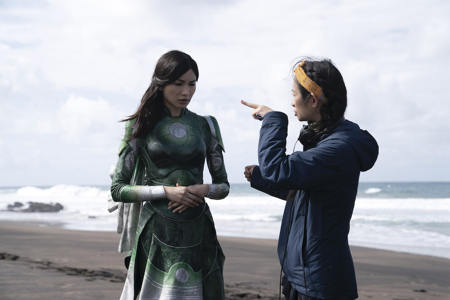 """Director Chloé Zhao with Gemma Chan on """"Eternals"""" set"""