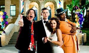 """Trevor Moore, Zach Cregger, Raquel Alessi and Craig Robinson in """"Miss March."""""""
