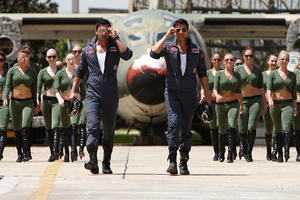 "John Abraham and Akshay Kumar in ""Desi Boyz."""