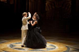 "Aaron Johnson as Count Vronsky and Keira Knightley as Anna in ""Anna Karenina."""