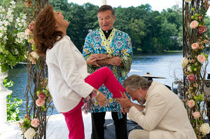 "Susan Sarandon as Bebe, Robin Williams as Moinighan and Robert De Niro as Don in ""The Big Wedding."""