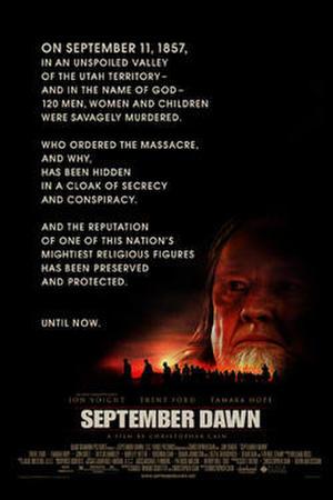 """Poster art for """"September Dawn."""""""