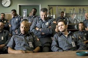 "Columbus Short, Laurence Fishburne and Matt Dillon in ""Armored."""