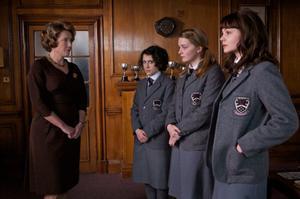 "Emma Thompson as Headmistress, Ellie Kendrick as Tina, Amanda Fairbank-Hynes as Hattie and Carey Mulligan as Jenny in ""An Education."""