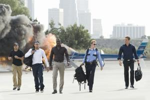 "Michael Ealy, Chris Brown, Idris Elba, Hayden Christensen and Paul Walker in ""Takers."""
