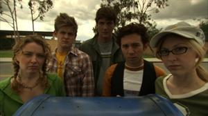 "Kathleen Early, Michael Grant Terry, Peter Douglas, Aaron Himelstein and Tate Hanyok in ""The Assistants."""
