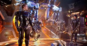 "Charlie Hunnam as Raleigh Beckett and Rinko Kikuchi as Mako Mori in ""Pacific Rim."""