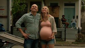 "Leslie Bibb as Vanessa and Rob Corddry as Jack in ""Hell Baby."""