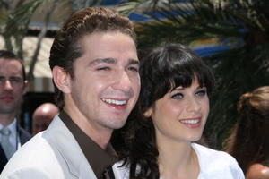 """Actor Shia LaBeouf and actress Zooey Deschanel at the L.A. premiere of """"Surf's Up."""""""