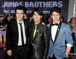 "Kevin Jonas, Joe Jonas and Nick Jonas at the California premiere of ""Jonas Brothers: The 3D Concert Experience in IMAX 3D."""