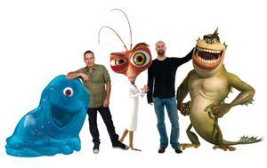 "Seth Rogen, Director Rob Letterman, Hugh Laurie, Director Conrad Vernon and Will Arnett on the set of ""Monsters vs. Aliens 3D."""