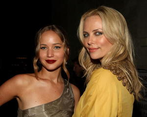 "Jennifer Lawrence and Charlize Theron at the after party of the California premiere of ""The Burning Plain."""