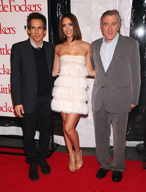"Ben Stiller, Jessica Alba and Robert De Niro at the New York premiere of ""Little Fockers."""