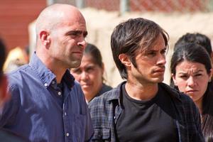 "Luis Tosar and Gael García Bernal in ""Even the Rain."""