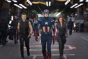 """Jeremy Renner, Chris Evans and Scarlett Johansson in """"The Avengers."""""""