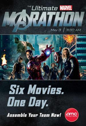 """Poster art for """"The Ultimate Marvel Marathon."""""""