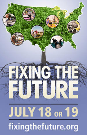"""Poster art for """"Fixing the Future."""""""