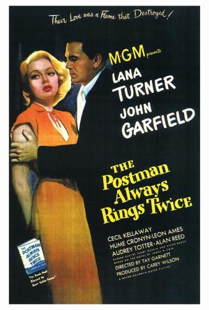 "Poster art for ""The Postman Always Rings Twice."""