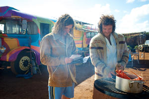 "Xavier Samuel as Jimmy Kelly and Sam Worthington as JB in ""Drift."""