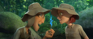 "Tulio voiced by Rodrigo Santoro and Linda voiced by Leslie Mann in ""Rio 2."""