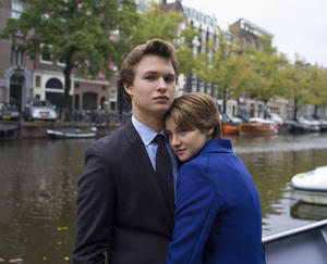 "Ansel Elgort as Gus and Shailene Woodley as Hazel in ""The Fault in Our Stars."""