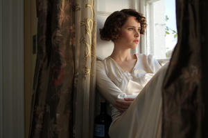 """Felicity Jones as Dolly Thatchum in """"Cheerful Weather for the Wedding."""""""